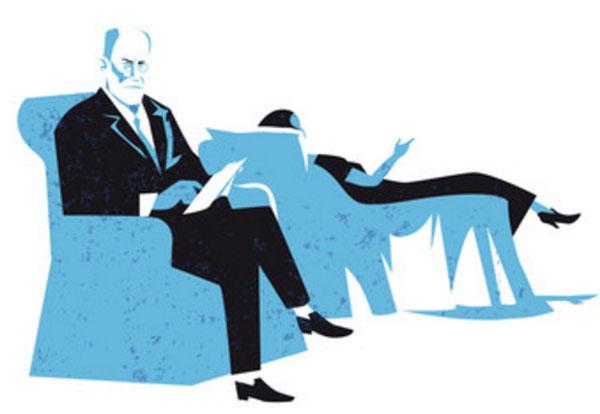 Картинка, на которой изображен Фрейд, ведущий сеанс психотерапии