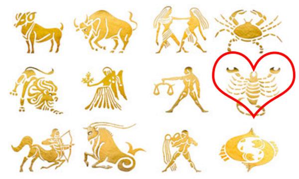 Изображения всех знаков Зодиака. Скорпион выделен сердечком