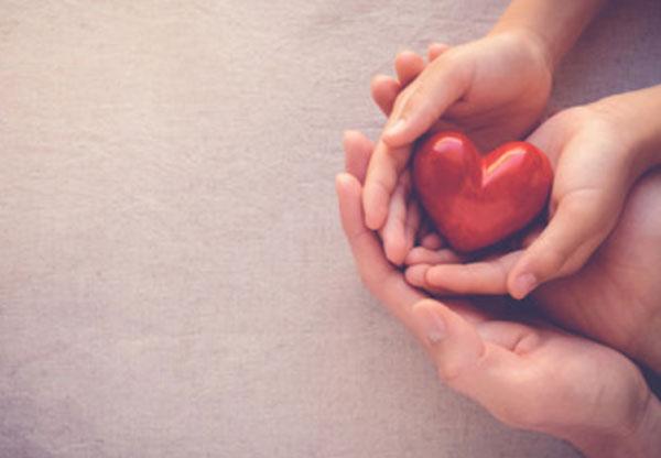 Руки взрослого и ребенка держат маленькое сердечко
