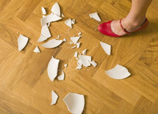 На полу разбитая тарелка и женская ножка