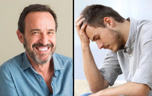 Два фото мужчин. На первом мужчина в хорошем настроении, он улыбается. на втором - грустным, в состоянии стресса