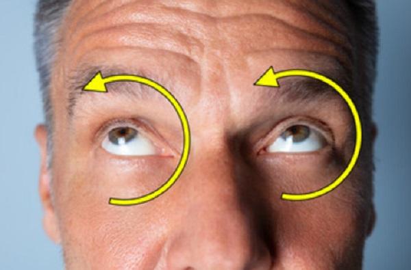 Голова мужчины. Стрелочками показана необходимость круговых вращений глазами